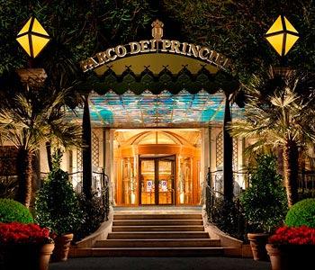 L'ingresso dell'hotel Parco dei Principi di Roma come appare oggi