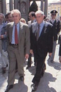 Il grande inquisitore, Piero Luigi Vigna, con il capo della Polizia, già ai vertici del Sisde, Vincenzo Parisi (Foto Sestini)