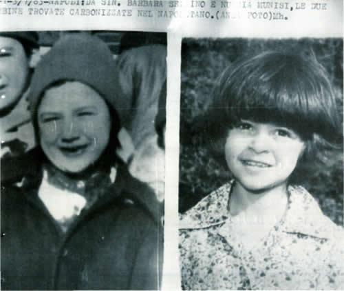 La telefoto dell'Ansa che segnala la tragica fine di Nunzia Munisi, 10 anni  e Barbara Sellino, 7