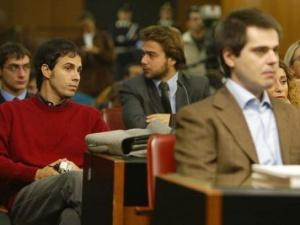 Giovanni Scattone e Salvatore Ferraro durante un'udienza del processo