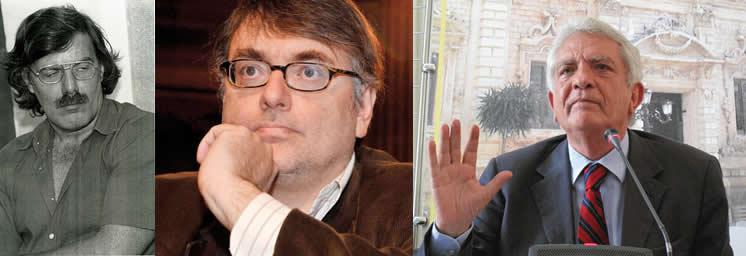Il sen. Miguel Gotor, l'ex brigatista Francesco Piccini e l'ex presidente della commissione stragi Giovanni Pellegrino, tre esponenti del Partito degli Spaventati